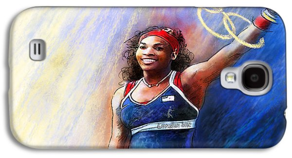 2012 Tennis Olympics Gold Medal Serena Williams Galaxy S4 Case by Miki De Goodaboom