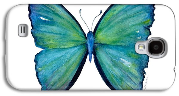 Moth Paintings Galaxy S4 Cases - 21 Blue Aega Butterfly Galaxy S4 Case by Amy Kirkpatrick