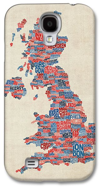 Text Galaxy S4 Cases - Great Britain UK City Text Map Galaxy S4 Case by Michael Tompsett