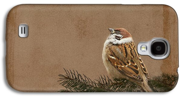 Flora Mixed Media Galaxy S4 Cases - Sparrow Galaxy S4 Case by Heike Hultsch