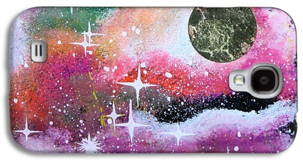 Outer Space Glass Art Galaxy S4 Cases - 24kt Gold Star Galaxy S4 Case by Wolfgang Finger