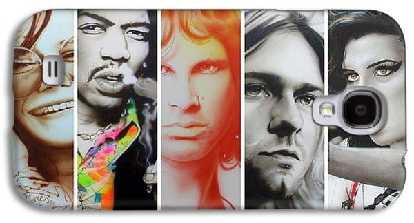 Jimi Hendrix, Kurt Cobain, And Amy Winehouse Collage - '27 Eternal' Galaxy S4 Case by Christian Chapman Art