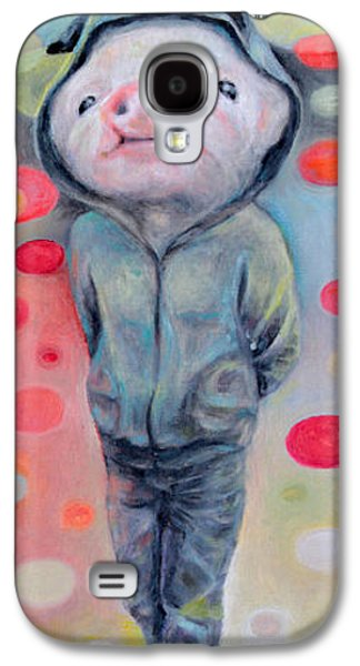 Piglets Paintings Galaxy S4 Cases - 2nd Little Pig Galaxy S4 Case by Manami Lingerfelt