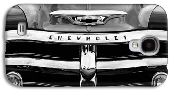 Transportation Photographs Galaxy S4 Cases - 1955 Chevrolet 3100 Pickup Truck Grille Emblem Galaxy S4 Case by Jill Reger
