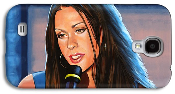Songwriter Paintings Galaxy S4 Cases - Alanis Morissette  Galaxy S4 Case by Paul Meijering