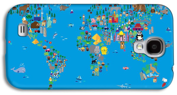 Fun Digital Galaxy S4 Cases - Animal Map of the World for children and kids Galaxy S4 Case by Michael Tompsett