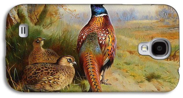 Farm Fields Paintings Galaxy S4 Cases - Pheasant At The Edge Of The Wood Galaxy S4 Case by Archibald Thorburn