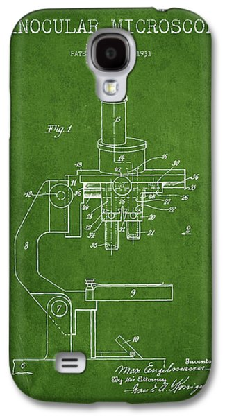 Microscope Galaxy S4 Cases - Binocular Microscope Patent Drawing from 1931 - Green Galaxy S4 Case by Aged Pixel