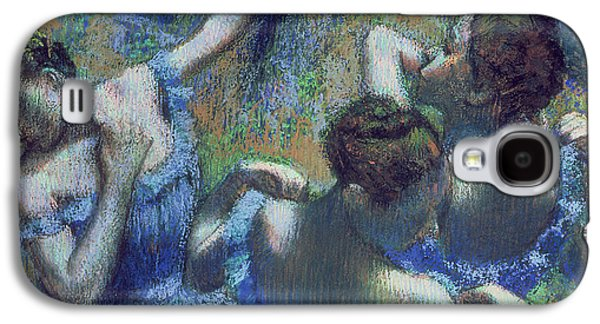 Ballet Dancers Pastels Galaxy S4 Cases - Blue Dancers Galaxy S4 Case by Edgar Degas