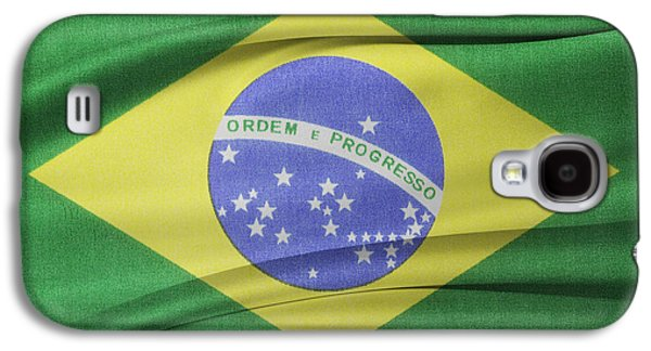 Wavy Galaxy S4 Cases - Brazilian flag Galaxy S4 Case by Les Cunliffe