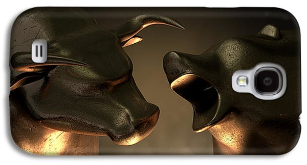 Bulls Digital Art Galaxy S4 Cases - Bull And Bear Market Statues Galaxy S4 Case by Allan Swart