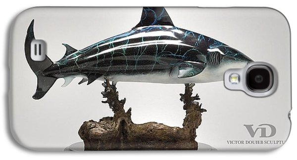 Sharks Sculptures Galaxy S4 Cases - Bull Shark Galaxy S4 Case by Victor Douieb