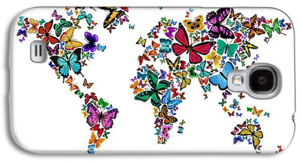 Cartography Digital Art Galaxy S4 Cases - Butterflies Map of the World Galaxy S4 Case by Michael Tompsett