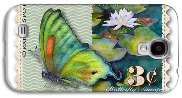 Butterfly Koi Galaxy S4 Cases - 3 Cent Butterfly Stamp Galaxy S4 Case by Amy Kirkpatrick