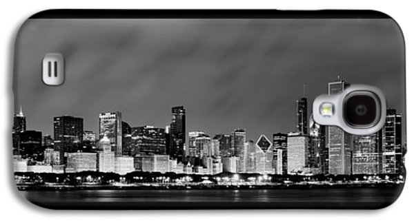 Michigan Galaxy S4 Cases - Chicago Skyline at Night in Black and White Galaxy S4 Case by Sebastian Musial