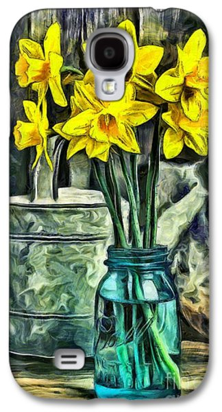 Mason Jars Galaxy S4 Cases - Daffodils Galaxy S4 Case by Edward Fielding