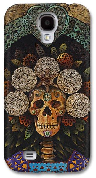 Folk Art Mixed Media Galaxy S4 Cases - Dia De Muertos Madonna Galaxy S4 Case by Ricardo Chavez-Mendez