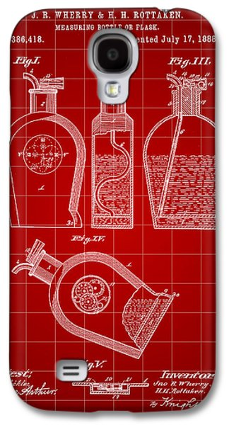 Wine Sipping Galaxy S4 Cases - Flask Patent 1888 - Red Galaxy S4 Case by Stephen Younts