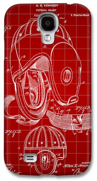 Pro Football Galaxy S4 Cases - Football Helmet Patent 1927 - Red Galaxy S4 Case by Stephen Younts