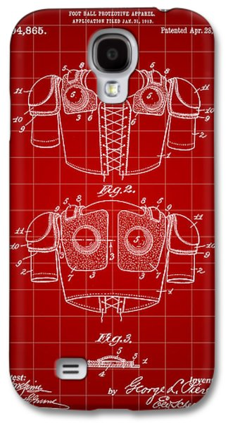 Pro Football Galaxy S4 Cases - Football Shoulder Pads Patent 1913 - Red Galaxy S4 Case by Stephen Younts