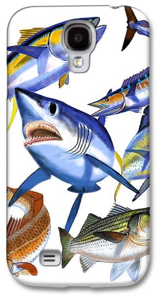 Shark Digital Galaxy S4 Cases - Gamefish collage Galaxy S4 Case by Carey Chen