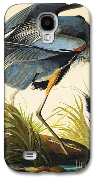 Wild Life Drawings Galaxy S4 Cases - Great Blue Heron Galaxy S4 Case by John James Audubon