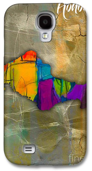Honolulu Map And Skyline Watercolor Galaxy S4 Case by Marvin Blaine