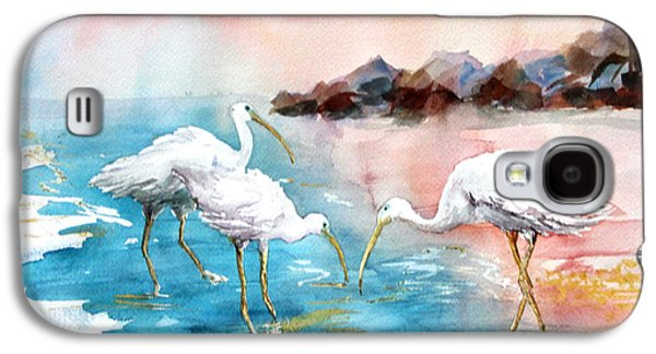 The Nature Center Paintings Galaxy S4 Cases - Ibis on the Beach Galaxy S4 Case by Joyce Allen