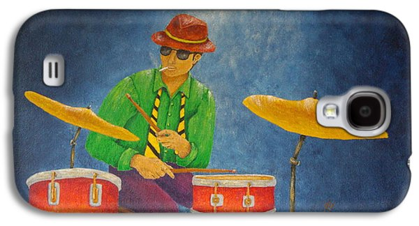 Light Mixed Media Galaxy S4 Cases - Jazz Drummer Galaxy S4 Case by Pamela Allegretto