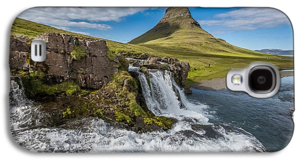 Landscapes Photographs Galaxy S4 Cases - Kirkjufellsfoss Waterfalls, Church Galaxy S4 Case by Panoramic Images