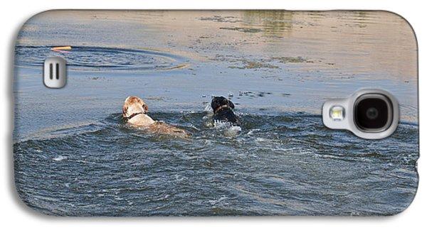 Water Retrieve Galaxy S4 Cases - Labrador Retrievers In Pond Galaxy S4 Case by William H. Mullins