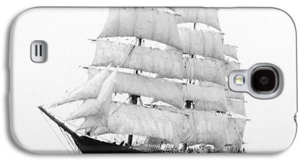 Historic Schooner Galaxy S4 Cases - 3 Masted Ship Mary L. Cushing Galaxy S4 Case by Daniel Hagerman