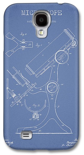 Microscope Galaxy S4 Cases - Microscope Patent Drawing From 1886 - Light Blue Galaxy S4 Case by Aged Pixel