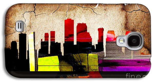 New Orleans Skyline Watercolor Galaxy S4 Case by Marvin Blaine