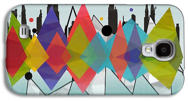 Surreal Geometric Galaxy S4 Cases - New York Galaxy S4 Case by Mark Ashkenazi