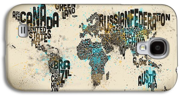 Cartography Digital Art Galaxy S4 Cases - Paint Splashes Text Map of the World Galaxy S4 Case by Michael Tompsett