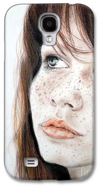 Person Pastels Galaxy S4 Cases - Red Hair and Freckled Beauty Galaxy S4 Case by Jim Fitzpatrick