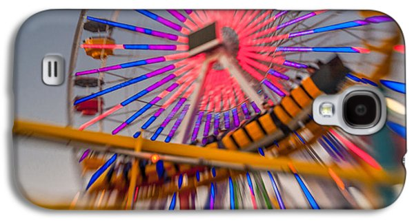 Rollercoaster Photographs Galaxy S4 Cases - Santa Monica Pier Ferris Wheel and Roller Coaster at Dusk Galaxy S4 Case by Scott Campbell