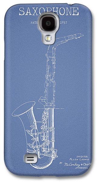 Saxophone Patent Drawing From 1937 - Light Blue Galaxy S4 Case by Aged Pixel