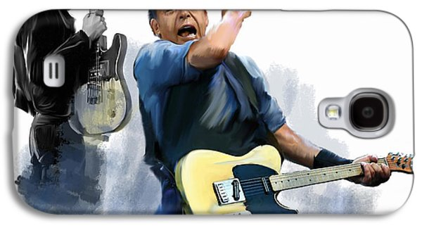 Bruce Springsteen Drawings Galaxy S4 Cases - Springsteen Bruce Springsteen Galaxy S4 Case by Iconic Images Art Gallery David Pucciarelli