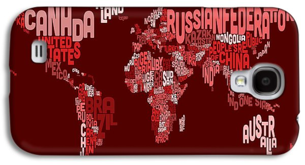 Maps - Galaxy S4 Cases - Text Map of the World Map Galaxy S4 Case by Michael Tompsett