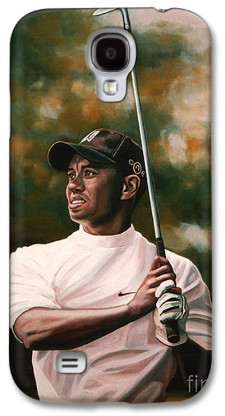 Master Paintings Galaxy S4 Cases - Tiger Woods  Galaxy S4 Case by Paul  Meijering