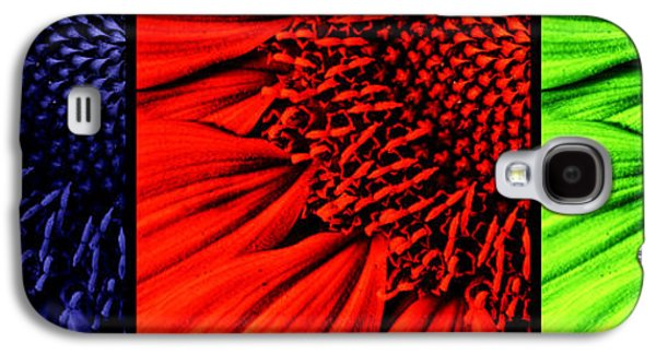 Macro Digital Galaxy S4 Cases - 3 tile Sunflower colors Galaxy S4 Case by Mark Kiver