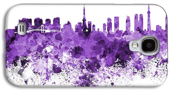Tokyo Skyline In Watercolor On White Background Galaxy S4 Case by Pablo Romero