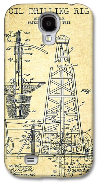 Rigs Galaxy S4 Cases - Vintage Oil drilling rig Patent from 1911 Galaxy S4 Case by Aged Pixel