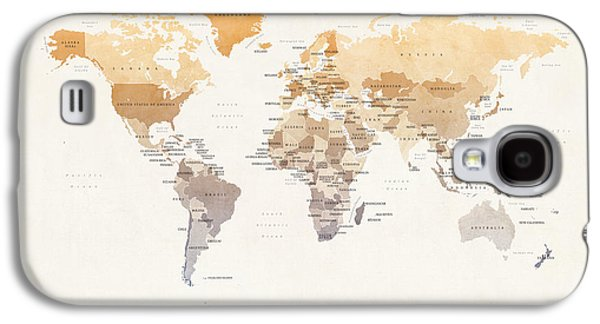 Atlas Galaxy S4 Cases - Watercolour Political Map of the World Galaxy S4 Case by Michael Tompsett