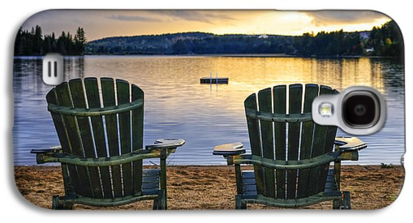 Beach Landscape Galaxy S4 Cases - Wooden chairs at sunset on beach Galaxy S4 Case by Elena Elisseeva