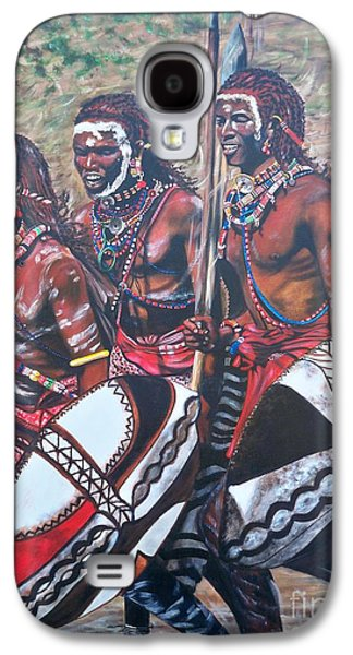 Tribe Paintings Galaxy S4 Cases - 335 Masaai Warriors Galaxy S4 Case by Sigrid Tune
