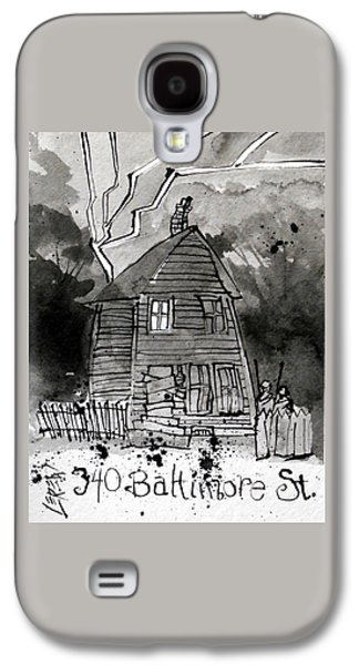 Haunted House Drawings Galaxy S4 Cases - 340 Baltimore Street Galaxy S4 Case by Larry Lerew