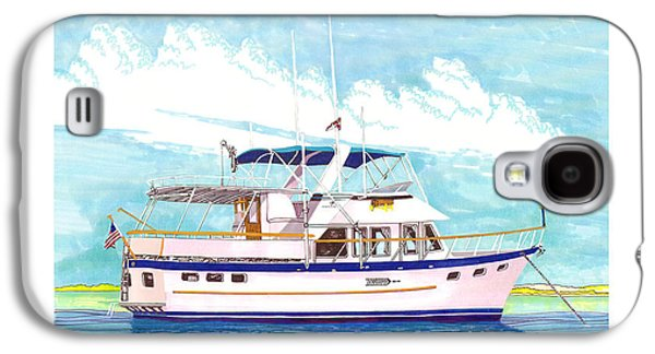 Aft Galaxy S4 Cases - 37 foot Marine Trader 37 Trawler yacht at anchor Galaxy S4 Case by Jack Pumphrey